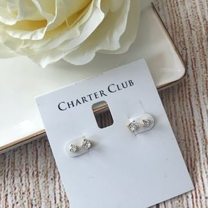 ✨Set of two Gold Crystal Diamond Stud Earrings